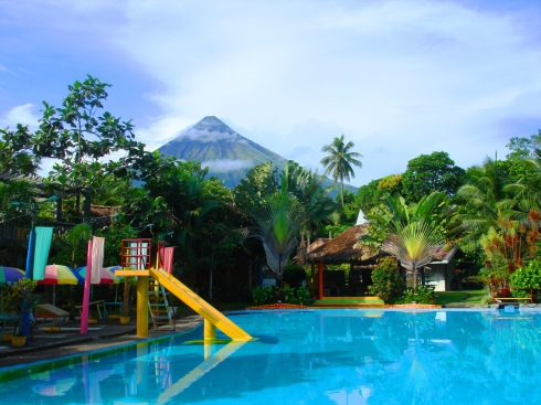 The Majestic Mayon Volcano peaking from behind.
